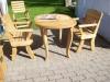 Ąžuolinis stalas su suolu ir kėdėmis